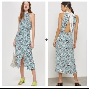 TOPSHOP Tie neck  burst print midi dress